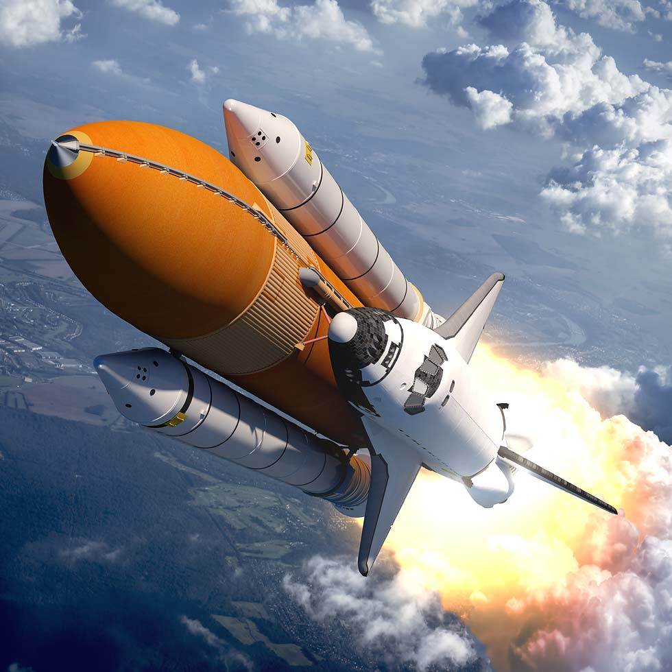 Space Shuttle Taking Off Into Space