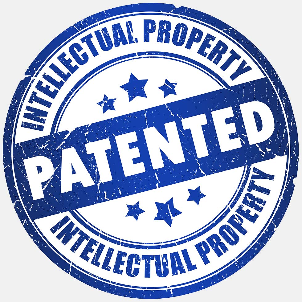 Intellectual Property Patented Stamp In Blue In Light Gray Background