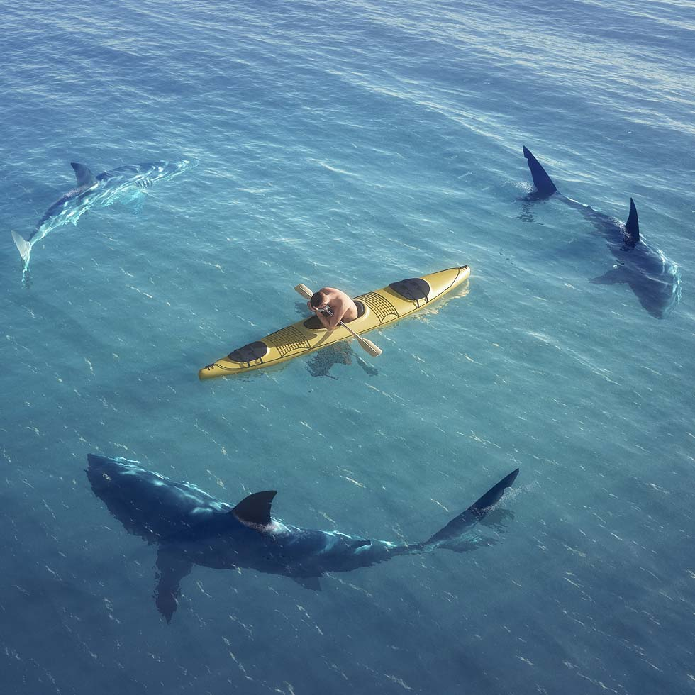 Man In Kayak Surrounded By Sharks