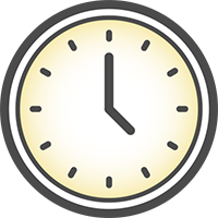 Gray Clock Icon With Warm Yellow Gradient In Center