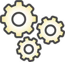 3 Gray Cogs Icon With Warm Yellow Gradient Inside Each One