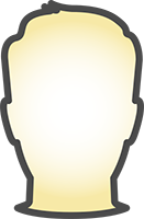 Icon Of A Persons Head Outlined In Gray With Warm Yellow Gradient In Center