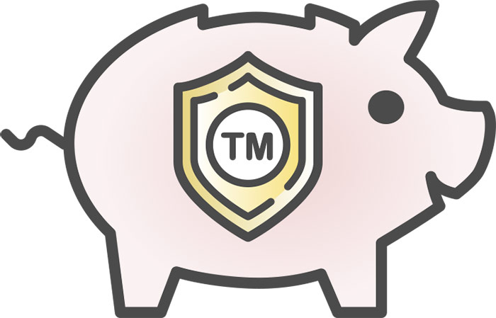 Piggy bank icon with Trademark inside