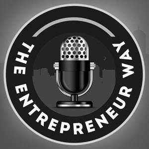The Entrepreneur Way Logo - Grayscale microphone inside black circle with white sans-serif type