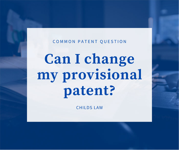 Can I Change My Provisional Patent blue serif type over blue image